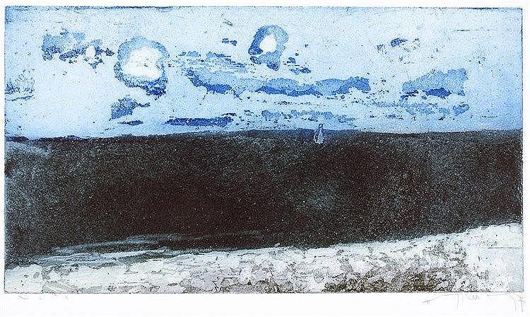 Fussmann, Klaus. Ostsee mit Sommerwolken. Farbaquatinta-Radierung auf Velin