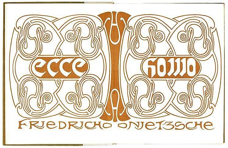 Velde, Henri van de - - Nietzsche, Friedrich. Ecce homo. (Doppeltitel, Einb