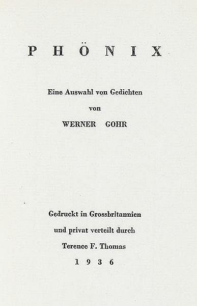 Gohr, Werner. Phönix. Eine Auswahl von Gedichten. Manchester, Cloister Pres