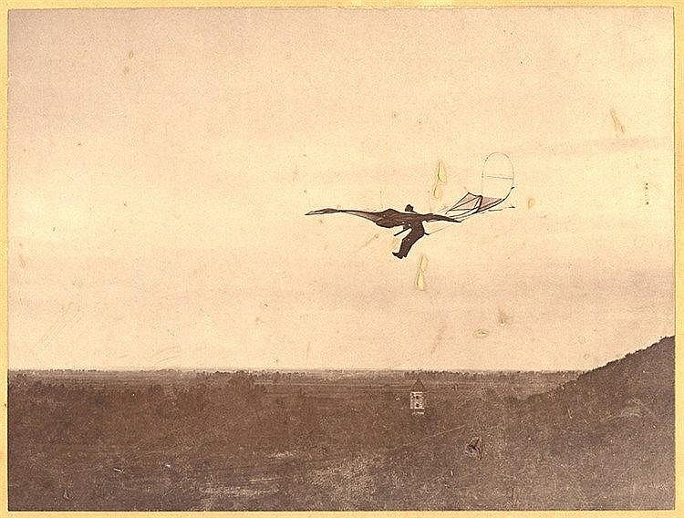 Varia - Luftfahrt - - Krajewski, Alex. Otto Lilienthal beim Gleitflug am Ha