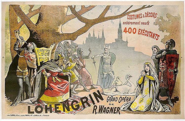 Plakate - - Lohengrin. Grand Opera de Richard Wagner. Farbig lithographiert