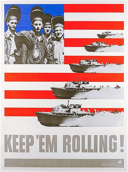 Plakate - - Lionni, Leo. Keep them rolling (Schnellboote). Farbiges Plakat.