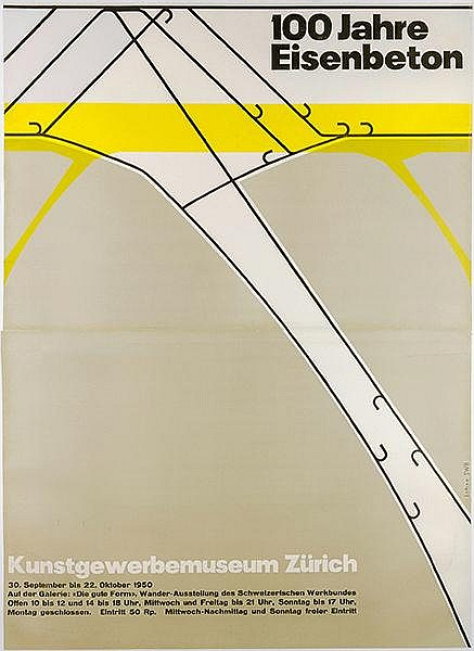 Plakate - - Lohse, Paul Richard. Einhundert (100) Jahre Eisenbeton. Ausstel