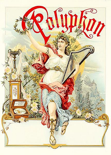 Plakate - - Polyphon Musik-Automat. Chromolithographisches Plakat. Ohne Dru