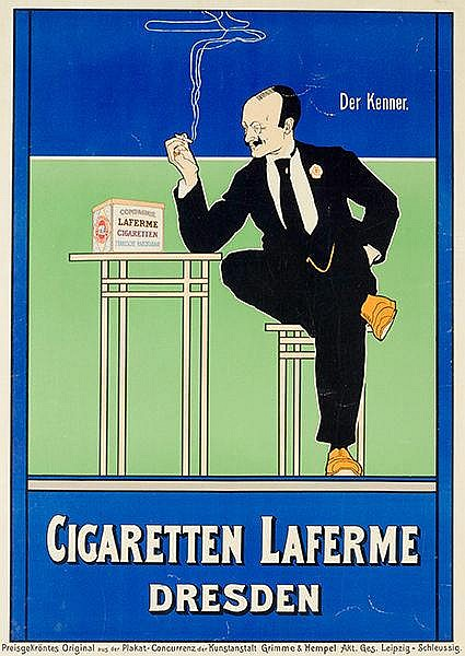 Plakate - - Rehm, Fritz. Der Kenner. Cigaretten Laferme Dresden. Chromolith