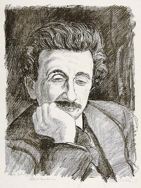 Büttner, Erich. Porträt von Albert Einstein. Lithographie auf Bütten. Recht