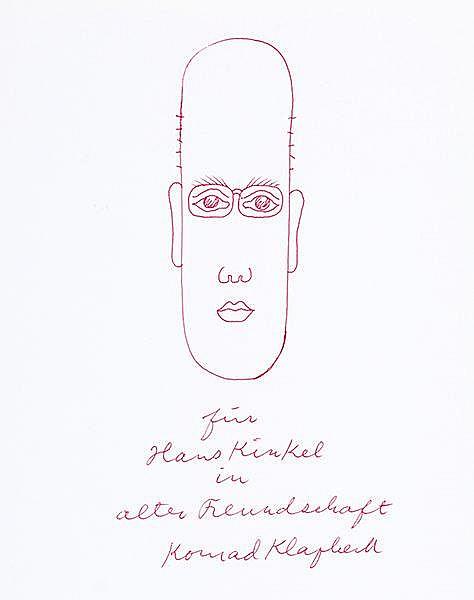 Klapheck, Konrad. Porträt von Hans Kinkel. Rote Filzstiftzeichnung. Unten m