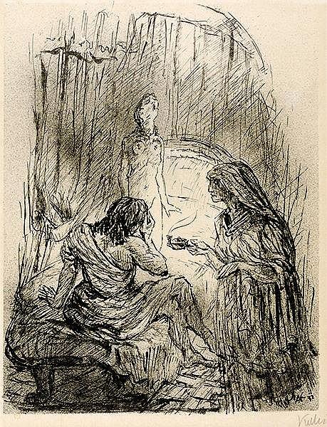 Kubin, Alfred. Die Braut von Korinth. Federlithographie auf elfenbeinfarben