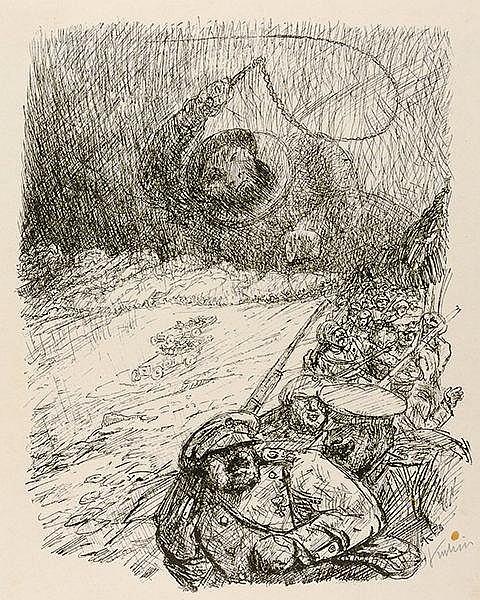 Kubin, Alfred. Sturm über Asien. Federlithographie auf chamoisfarbenem Veli