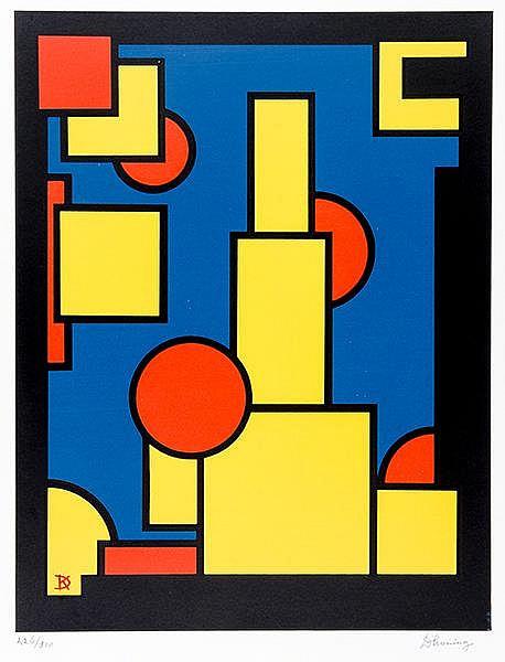 Koning, Dirk. Ohne Titel (Konstruktivistische Komposition). Farblithographi
