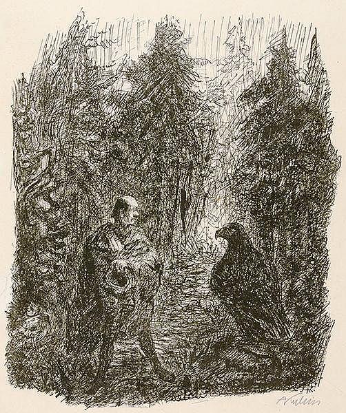 Kubin, Alfred. Begegnung im Walde. Federlithographie auf chamoisfarbenem Ve