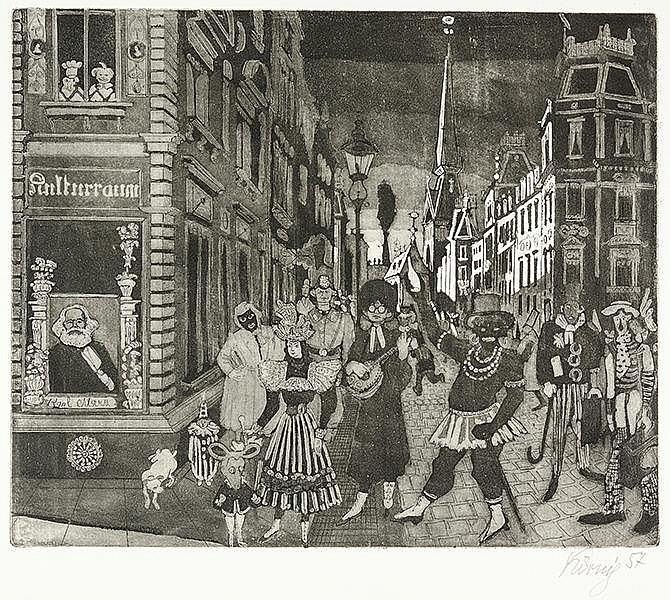 Körnig, Hans. Fastnachtsspuk im Wallgäßchen. Aquatinta-Radierungen 1953-195