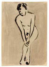Russische Kunst; Fonvizin, Artur V - Weiblicher Akt. Grisaille. Aquarell auf