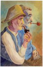 Arnold, Christian - Rauchende Bauern. Aquarell auf Papier. Rechts unten mit...
