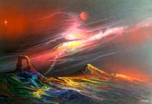 Original Oil on Canvas-Outer Space Genre Painting