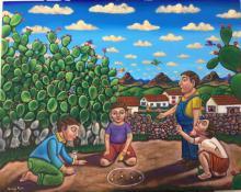 Acrylic on Canvas Mexican Folk Art by German Rubio