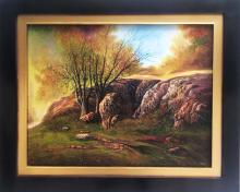 Original Oil on Canvas-Rocks in the Forest by Espinosa