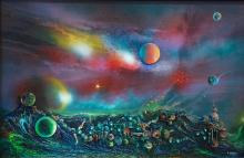 Original Mixed Media on Wood-In the Depths of the Cosmos by Espinosa