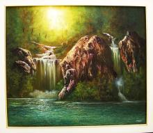 Original Oil on Canvas-Waterfalls by Espinosa