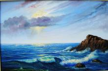 Original Oil on Canvas-Afternoon at Sea by Espinosa
