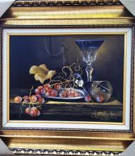 Original Oil on Canvas-Two Glasses of Wine by Ordonez