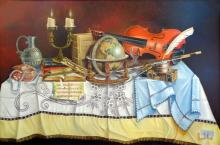Original Oil on Canvas-Science, Art, Morals and Vanity by Ordonez