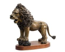 Bronze Sculpture-Vigilant Lion by Belmonte