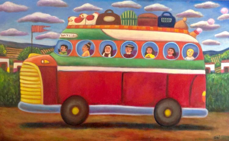 Mexican Folk Art-Oil on Canvas Original by Esau Andrade