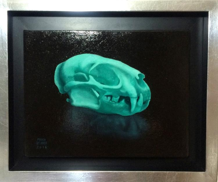 Neon Cat Skull-Oil on Wood-Fran De Anda