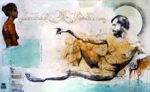 Original Oil and Charcoal on Canvas- Rene Rabadan