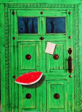 Original Mixed Media on Canvas & Wood-Love Is Like Watermelon by AnaVira