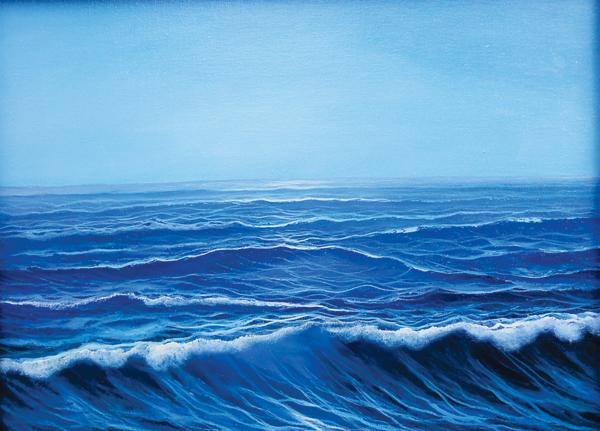 Azure Sea Waves-Oil on Canvas- Original Eugenio