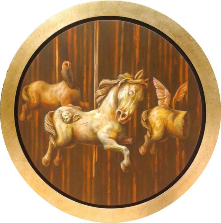 Carousel Phantoms-Oil on Circular Canvas Original Nacho Ramirez