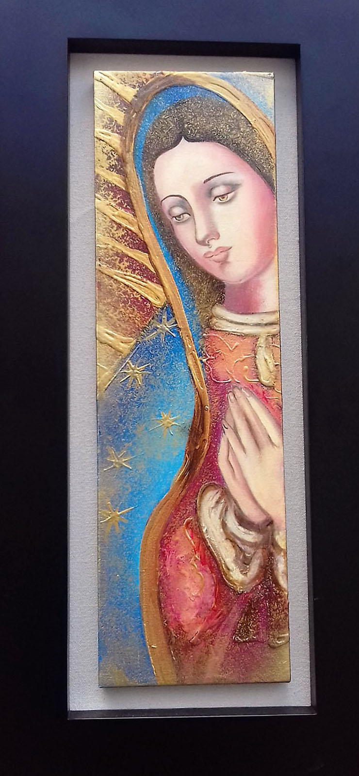 Mixed Media Original-Virgin Mary-Professionally Framed