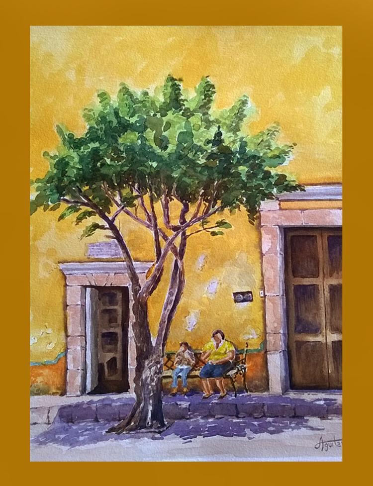 Quaint Street-Watercolor on Archival Paper Original by Santiago Aguilar
