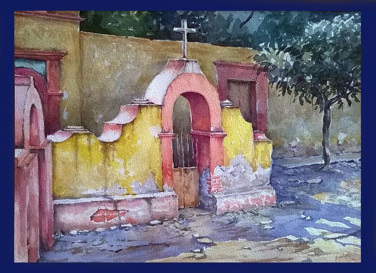 Church Entry-Watercolor on Archival Paper Original by Santiago Aguilar