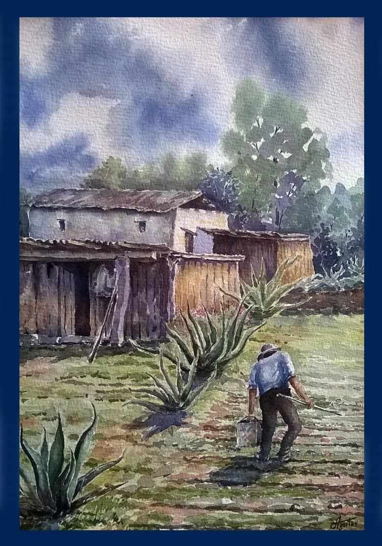 My Farm-Watercolor on Archival Paper Original by Santiago Aguilar