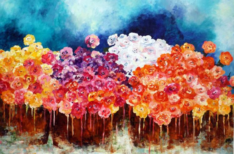 Bouquets In The Wind- Acrylic on Canvas Original- Alejandra Macouset Garcia