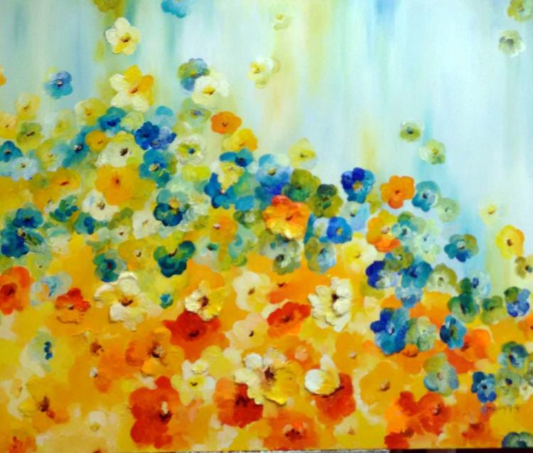 Floral Revue-Acrylic on Canvas Original- Alexandra Macouset