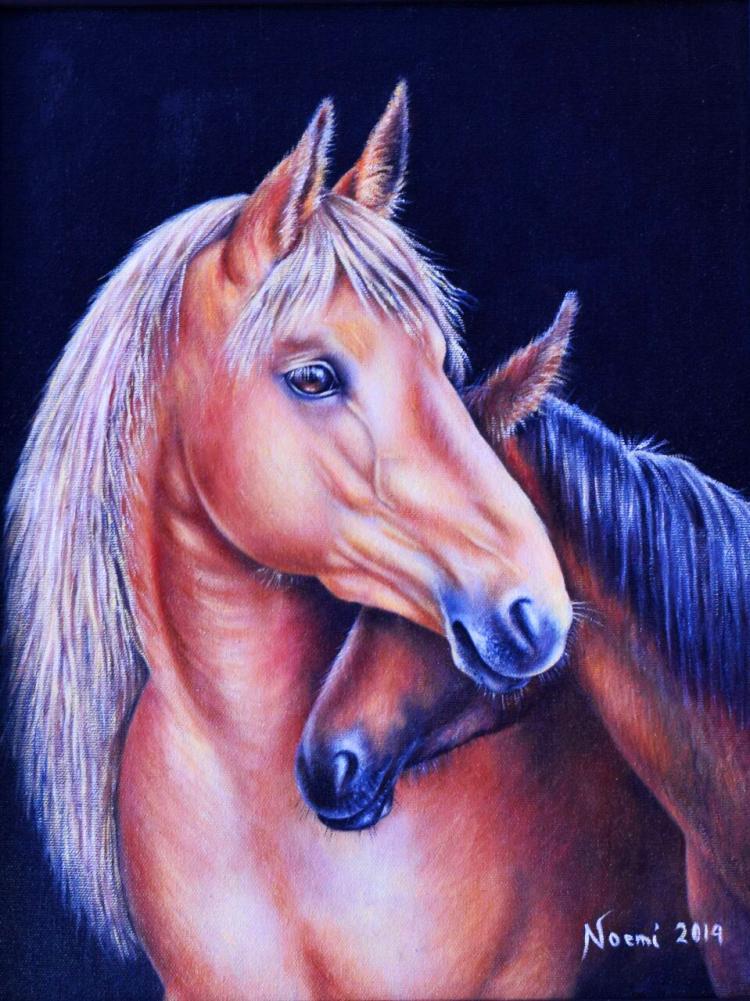 Noble Horse Original Oil on Canvas-Maria Noemi Garfias