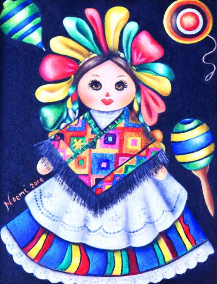 Mexican Doll- Original Oil on Canvas-Maria Noemi Garfias