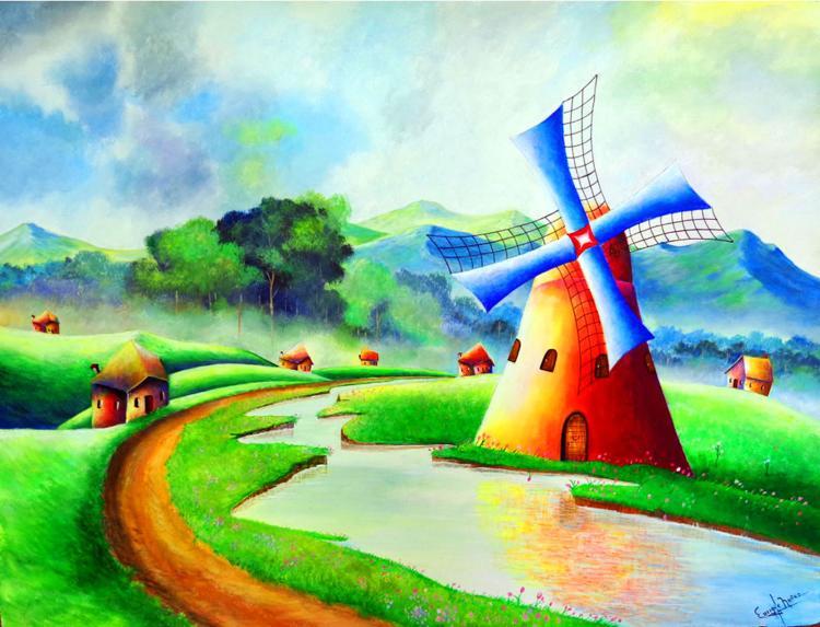 Windmill-Acrylic on paper by Enrique Nunez