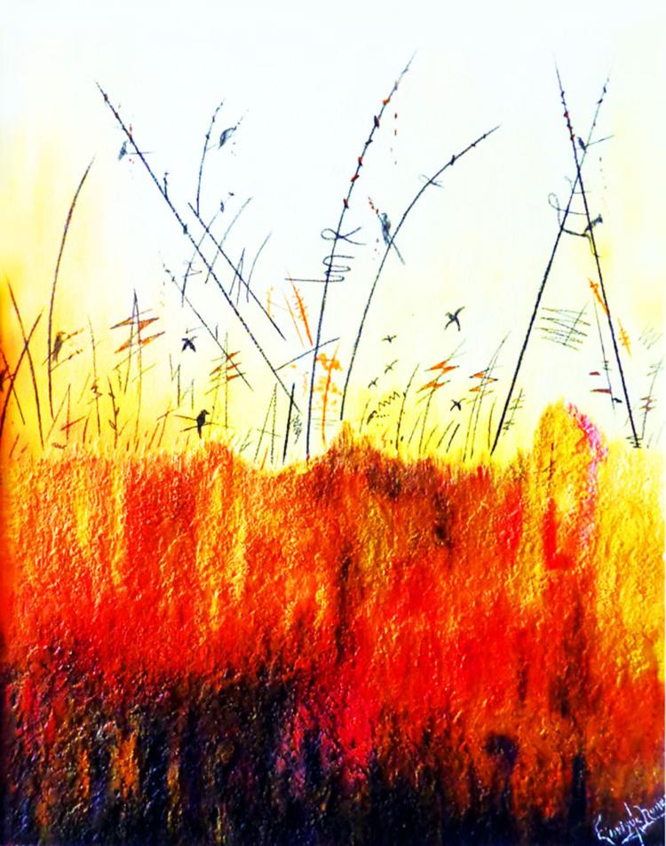 Wild Flowers-Mixed Media Original Enrique Nunez
