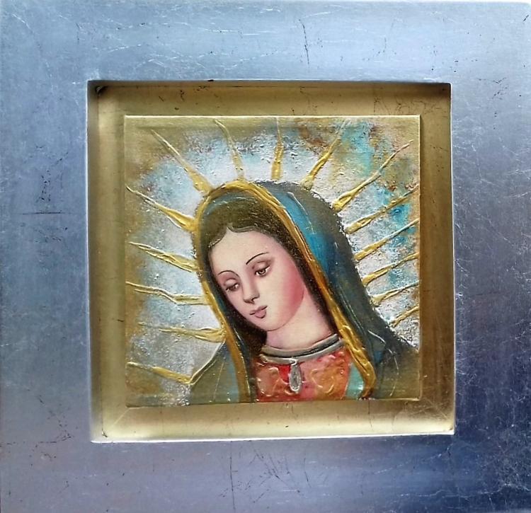 Mixed Media Original-Virgin Mary- Religious Icon by Cristina Posada