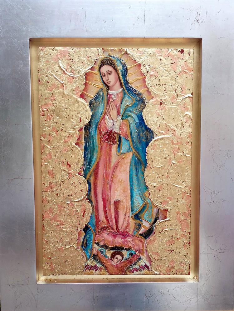 Mixed Media Original-Virgin Mary- Religious Icon by Cristina Posada