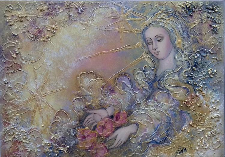Mixed Media Original-The Roses
