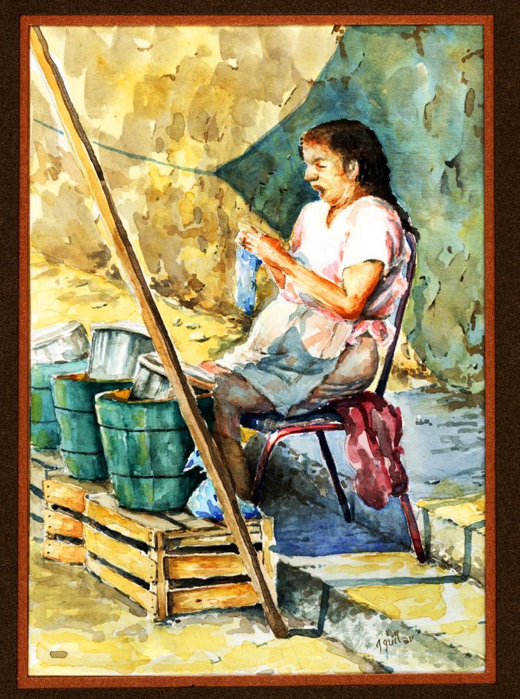 Watercolor on Archival Paper Original by Santiago Aguilar