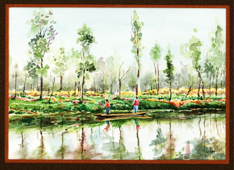 Canoeing-Watercolor on Archival Paper Original by Santiago Aguilar