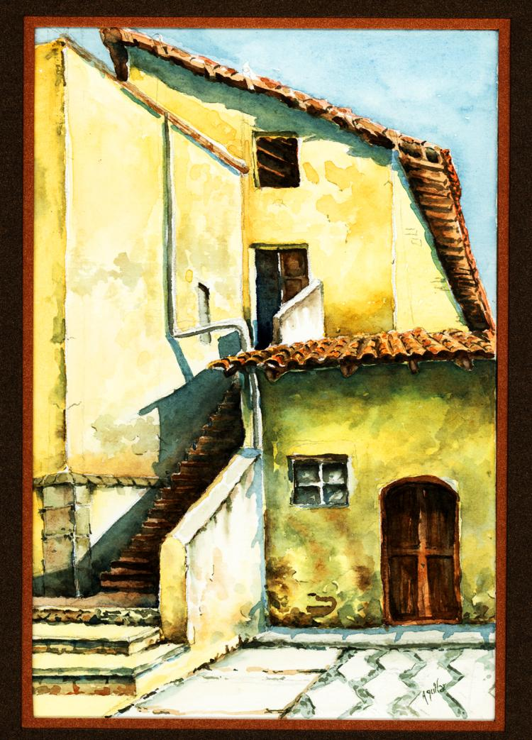 The Mission-Watercolor on Archival Paper Original by Santiago Aguilar