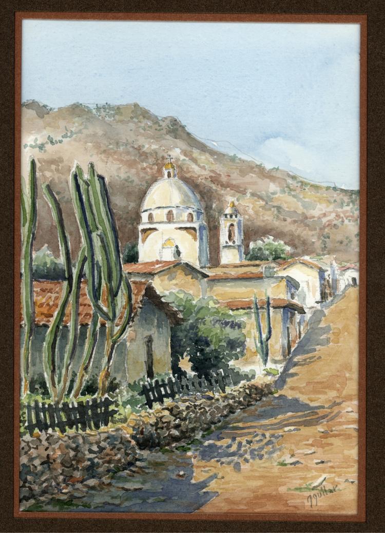 Desert Outpost-Watercolor on Archival Paper Original by Santiago Aguilar